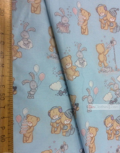 Tissu pour bébé au metre ''Bears And Bunnies On Blue''}