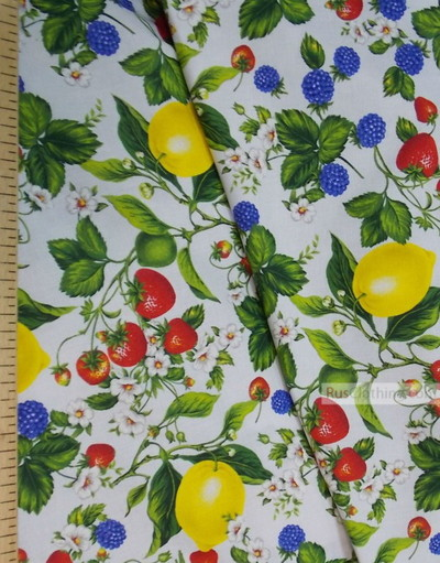 Tissu vintage folklorique au metre''Berries With Lemon''}