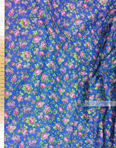 Floral cotton fabric by the yard ''Rose On Blue''}
