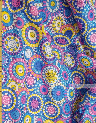 Geometric Print Fabric  ''Blue Circle''}