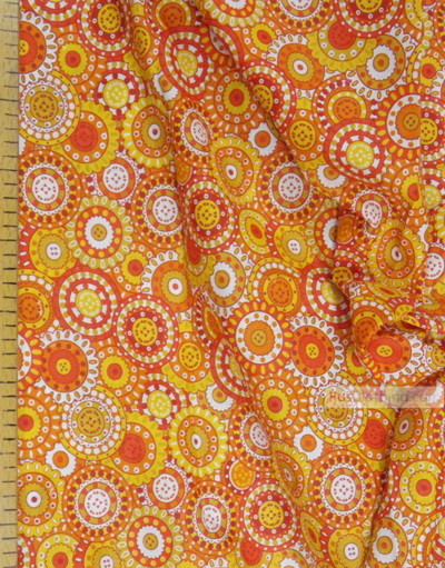 Tissu géométrique au metre''Orange Circle''}