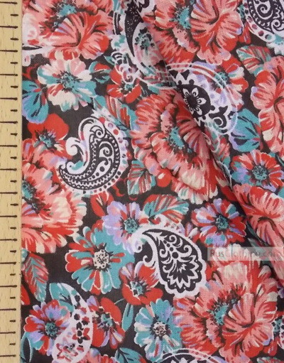 Floral cotton fabric by the yard ''Carnations On Black''}