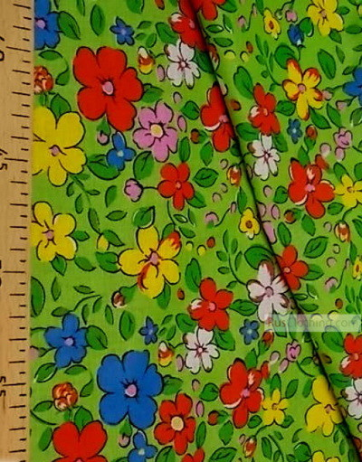 Floral cotton fabric by the yard ''Field Flowers On Green''}