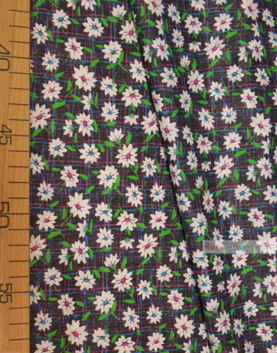 Floral cotton fabric by the yard ''White Flowers On Black''}