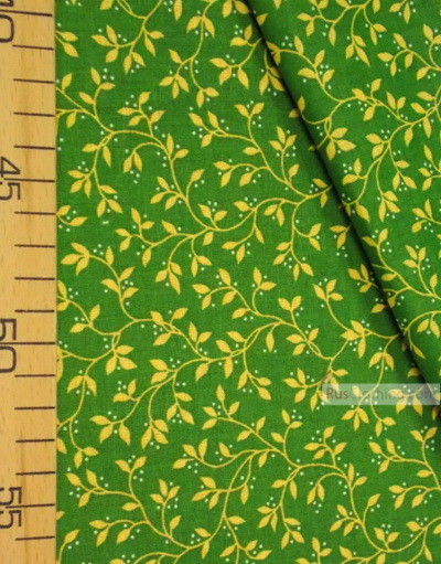 Vintage Fabric Ornament by the yard ''Yellow Leaves On Green''}