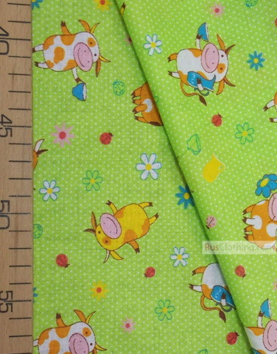 Tissu pour enfant au metre ''Cow On The Green Field''}