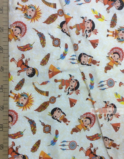 Baby fabric by the Yard ''Indians On Beige''}