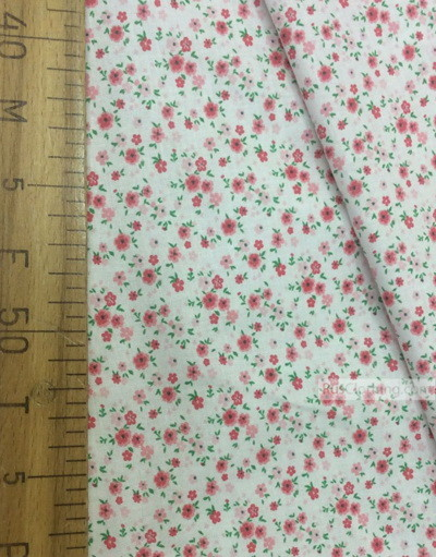 Floral cotton fabric by the yard ''Small, Pink Flowers On White''}