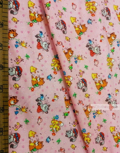 Kids Fabric by the Yard ''Cats And Birds On Pink''}