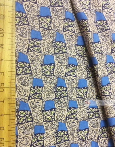 Geometric Print Fabric  ''Pattern In A Square, Blue''}