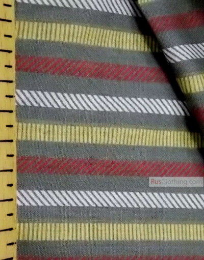 Geometric Print Fabric  ''Strip On Grey''}