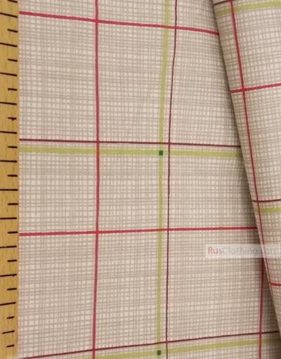 Geometric Print Fabric ''Color Plaid On Grey''}