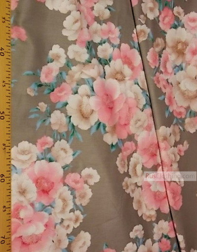 Floral cotton fabric by the yard ''Pink And Beige Flowers On Grey''}