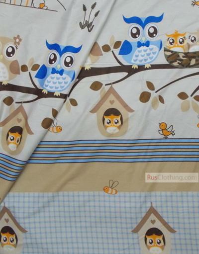 Tissu bébé au metre ''Owls On A Branch''}