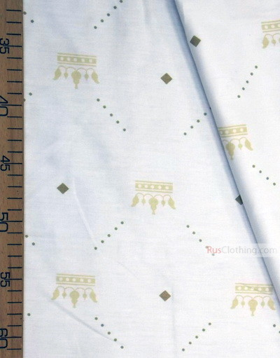 Nursery Print Fabric by the Yard ''Beige Crowns On White''}