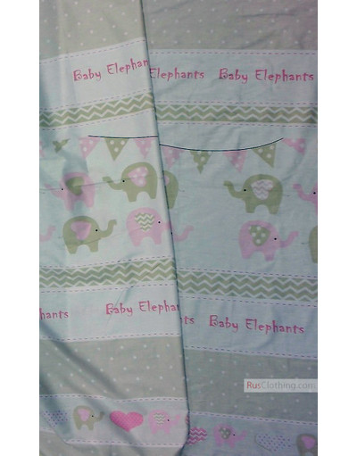 Baby Quilt Fabric by the Yard ''Beige, Pink Elephants''}