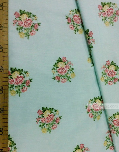 Floral cotton fabric by the yard ''Bouquet Of Roses On A Gentle Mint''}