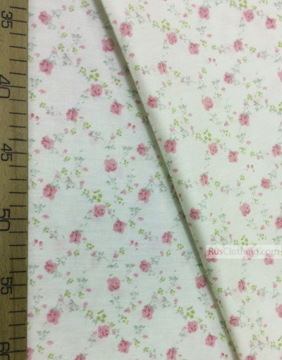 Floral cotton fabric by the yard ''Delicate Roses On Light Yellow''}