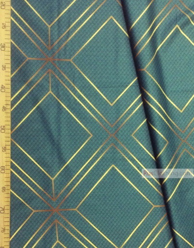 Geometric Print Fabric  ''Faces On Dark Green''}
