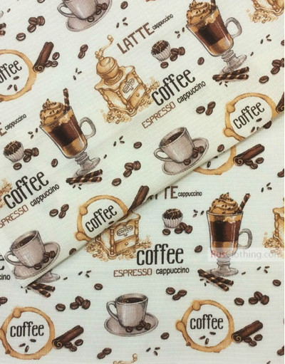 Waffle Weave Fabric by the yard ''Coffee''}