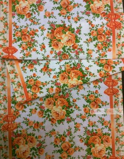 Tissu coton fleuri au metre ''Roses On Beige''}