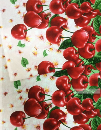 Waffle Cotton Fabric by the yard ''Cherry''}