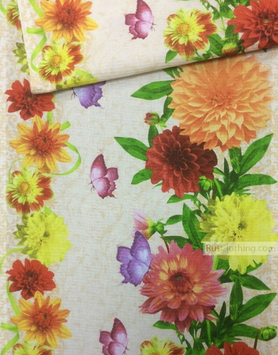 Floral cotton fabric by the yard ''Butterfly On Asters''}