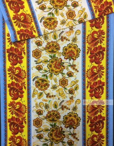 Waffle Textured Fabric by the yard ''Khokhloma.''}