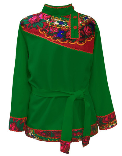 Boys cotton Russian shirt Quadrille green