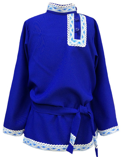 Boys cotton Russian shirt Basil for boys blue