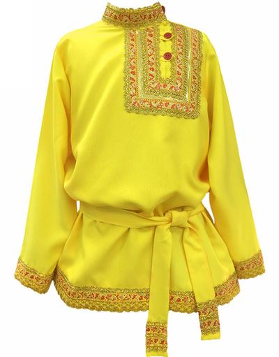 Traditional cotton Russian shirt ''Ruslan'' yellow