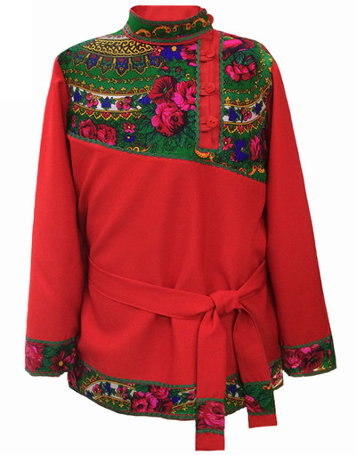 Traditional cotton Russian shirt ''Quadrille'' red