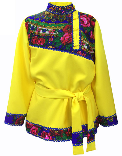 Boys cotton Russian shirt Quadrille yellow