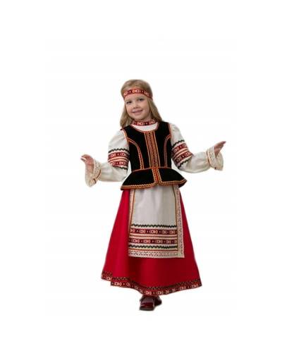 Folklore costume for girls ''Holiday'' red skirt