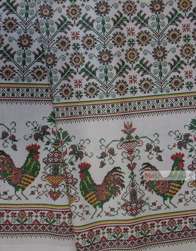 Coq Imprimé tissu au metre ''Colored Roosters On White''}