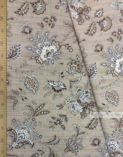 Folklore Fabric by the yard ''Oriental Flowers On Light Beige''