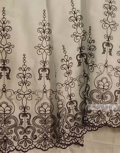 Fabric Embroidery Cotton ''Black Patterns''}