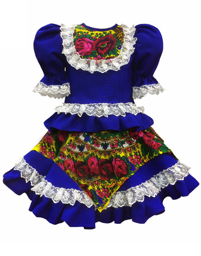 Russian dance costume ''Square dance'' with Kokoshnik blue