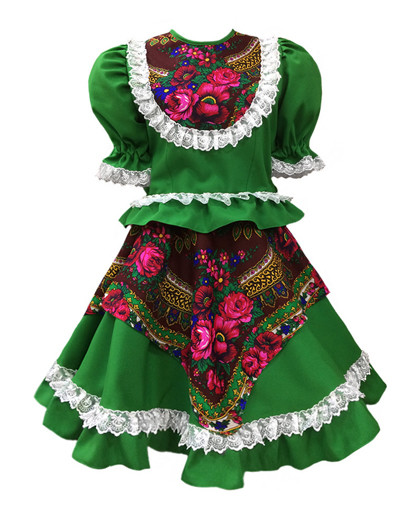 Russian dance costume ''Square dance'' with Kokoshnik green