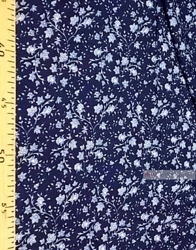 Viscose rayon by the yard ''White Flowers On Branches On Blue Field''}