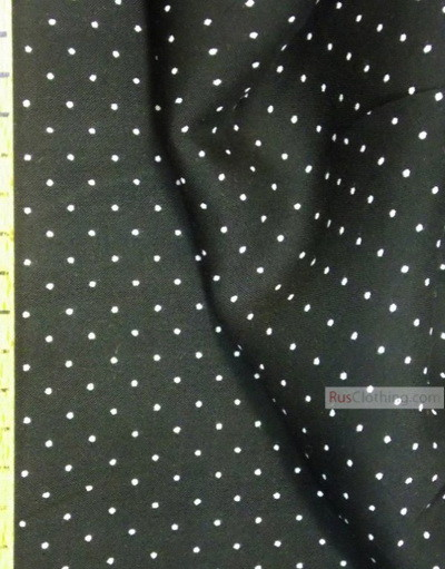 Viscose Fabric by the yard ''White Polka Dots On Black''}