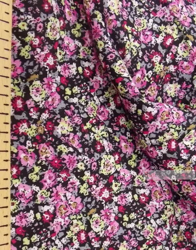 Viscose Fabric by the yard ''Pink Flowers On Black''}