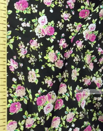 Viscose rayon by the yard ''Pink Roses On Black''}