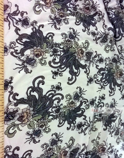 Viscose rayon by the yard ''Flowers On Milk''}