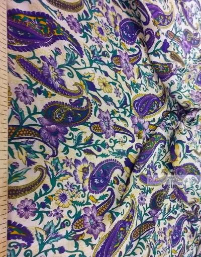 Viscose rayon by the yard ''Oriental Motifs On White (Purple, Green)}