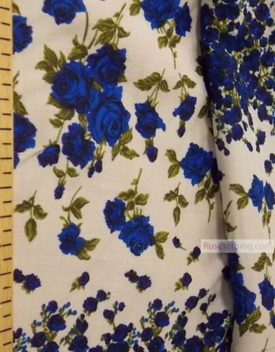 Tissu Viscose Imprimé au metre ''Garlands Of Blue Roses In The Dairy.''}