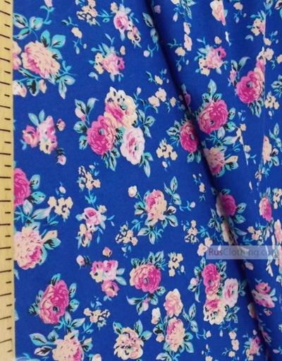 Tissu Viscose au metre ''Pink Roses On Blue''}