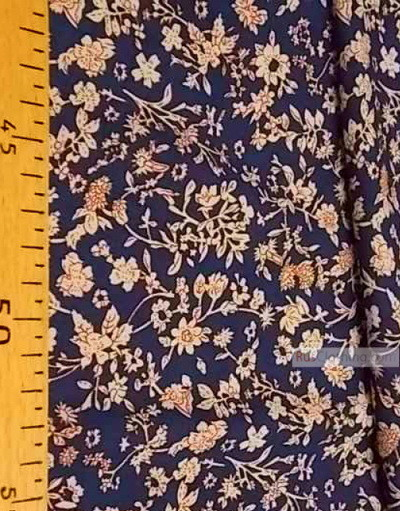 Viscose rayon by the yard ''Beige Flowers On Blue''}