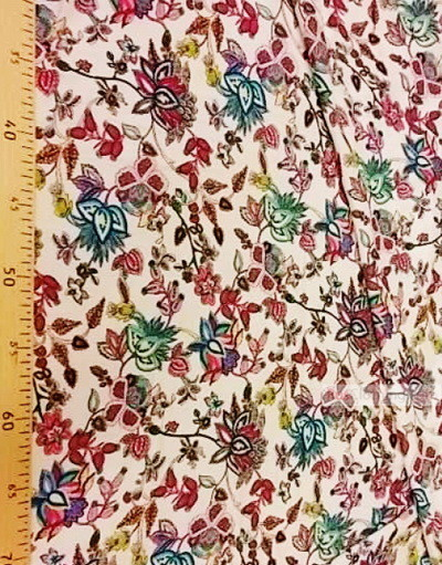 Viscose rayon by the yard ''Pink And Blue Orchid Flowers On Dairy''}