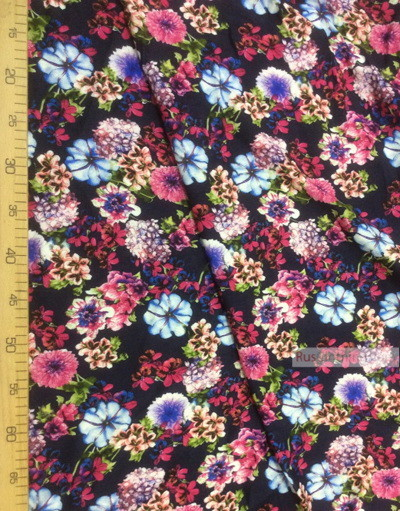 Viscose Fabric by the yard ''Bouquet Of Flowers On Dark Blue''}